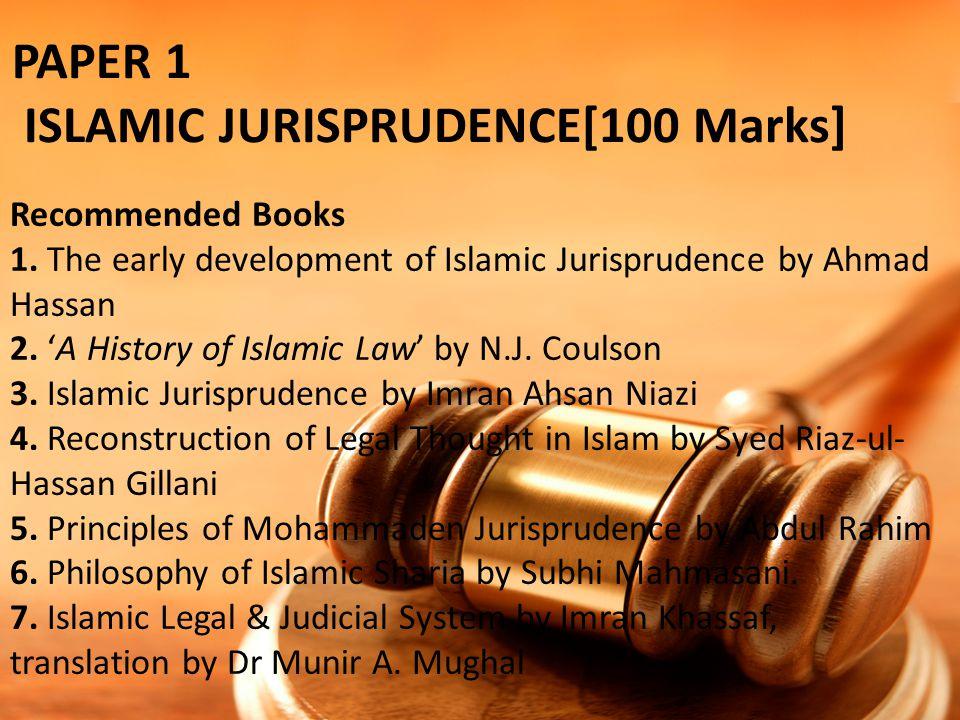 PAPER 1 ISLAMIC JURISPRUDENCE[100 Marks]
